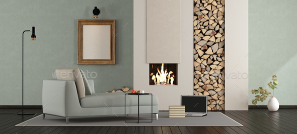 Minimalist lounge with fireplace - Stock Photo - Images