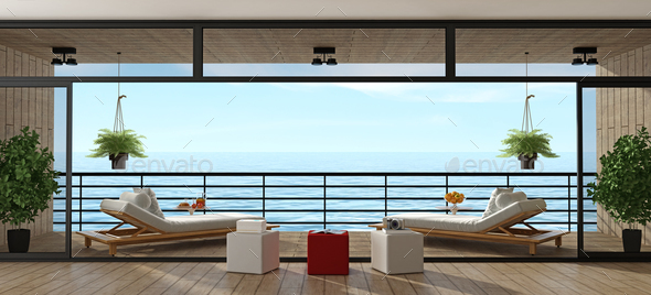 Holiday villa with wooden veranda - Stock Photo - Images