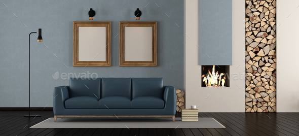 Modern living room with fireplace - Stock Photo - Images