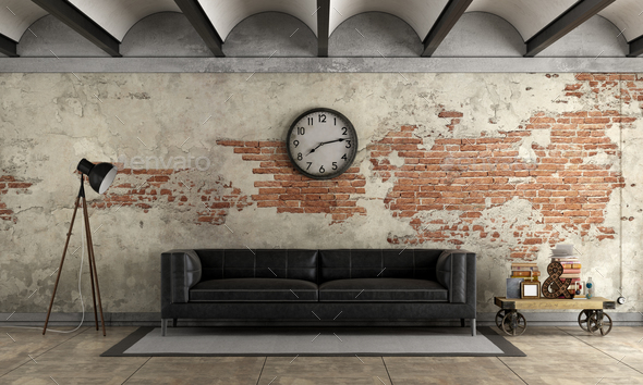 Black sofa in a grunge room - Stock Photo - Images