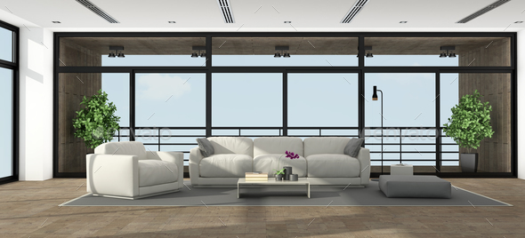 Large minimalist living room - Stock Photo - Images