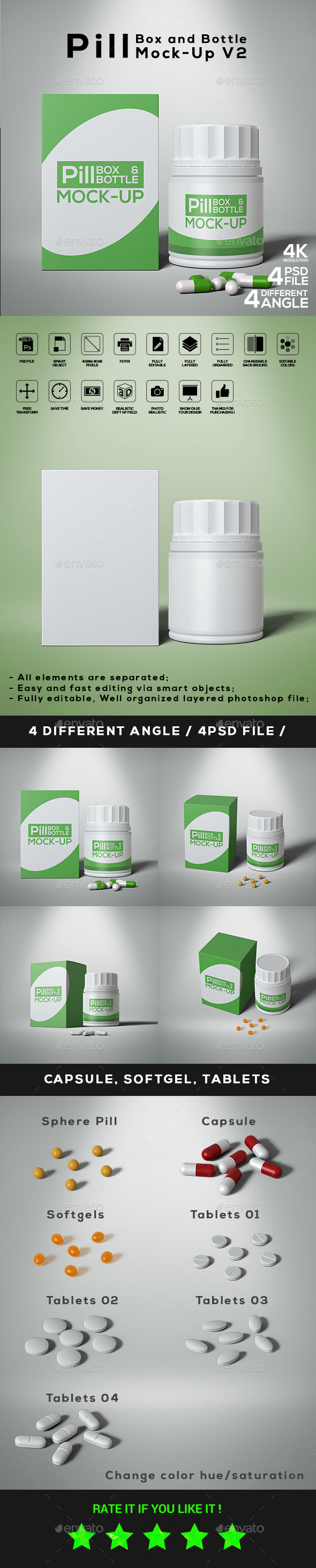 GraphicRiver Pill Box and Bottle Mock-Up V2 21145215