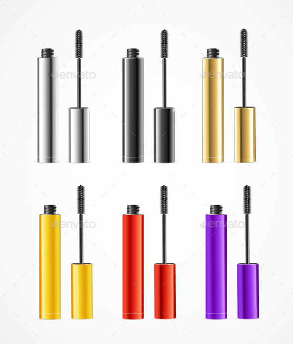 Realistic Color Mascara Brush Set - Man-made Objects Objects