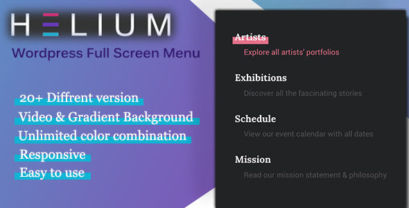 Helium: Wordpress Full Screen Menu - CodeCanyon Item for Sale