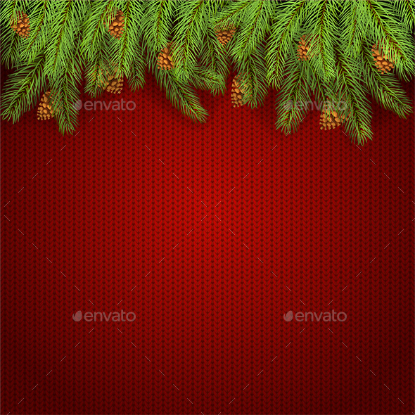 Christmas Red Knitted Background and Fir Tree Branches - Christmas Seasons/Holidays