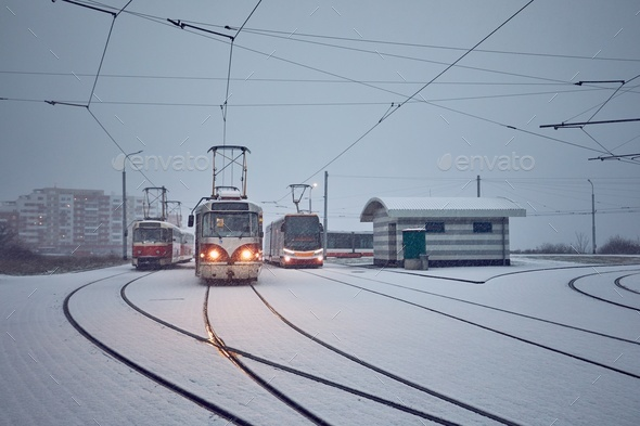Trams in heavy snowfall - Stock Photo - Images