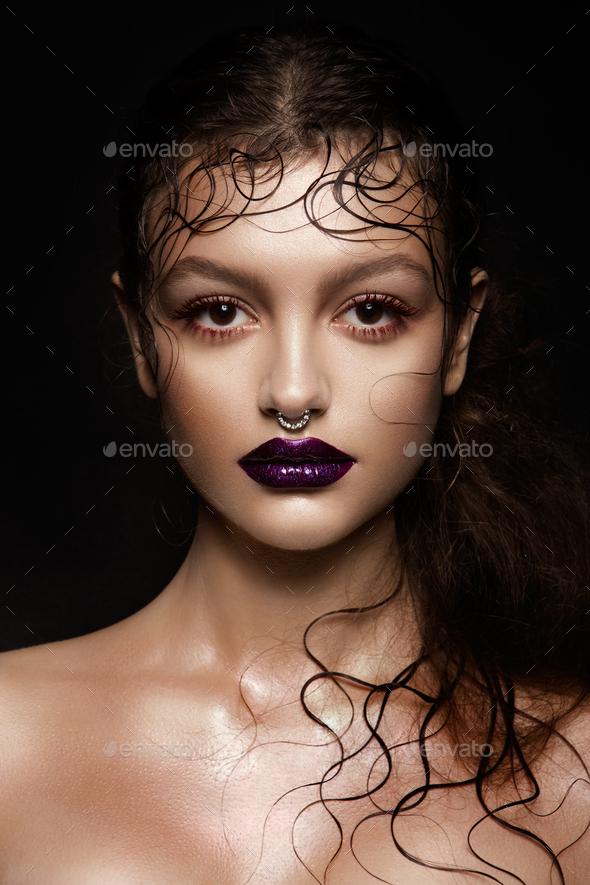 Fashion Brunette Model Portrait. - Stock Photo - Images