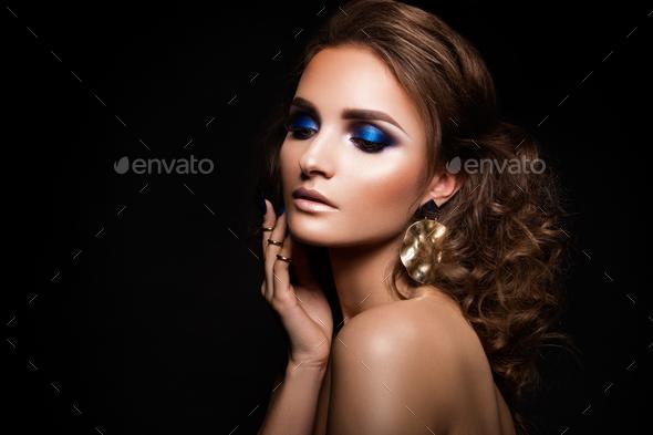 Close-up portrait of beautiful brunette - Stock Photo - Images