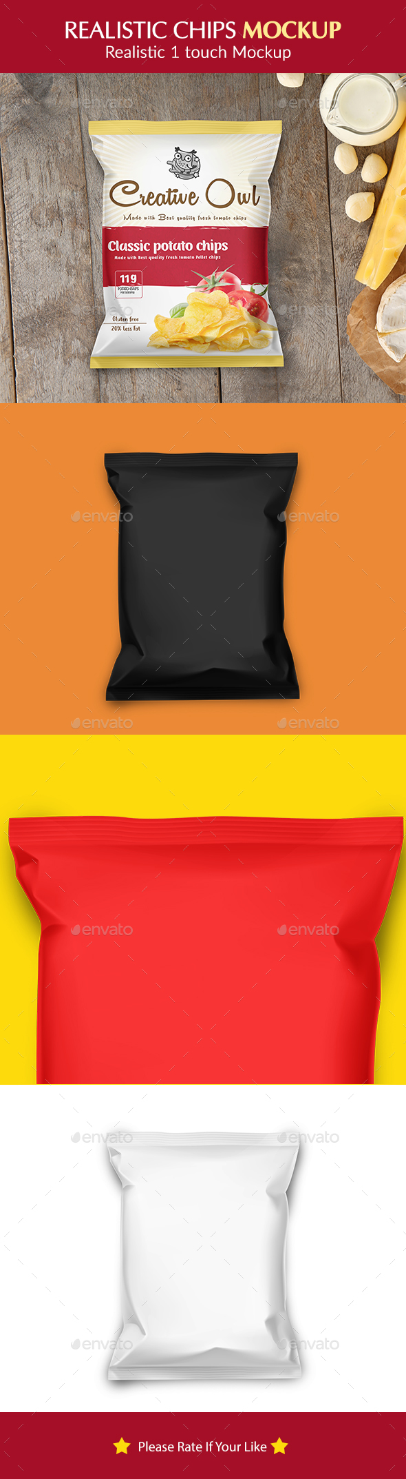Chips, Snack and Pouch Packet Mockup - Food and Drink Packaging