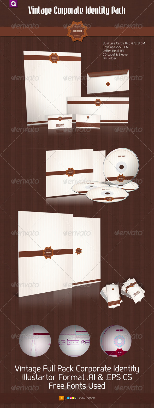Vintage Corporate Identity Full Pack - Stationery Print Templates