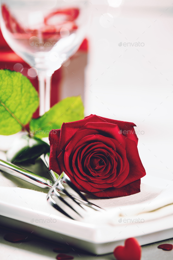 Valentine's Day or romantic dinner concept - Stock Photo - Images