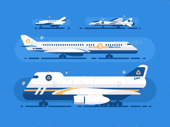 Aircraft Types Set - Travel Conceptual