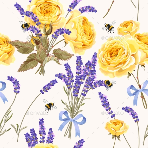 GraphicRiver Lavender and Roses Seamless Pattern 21145660