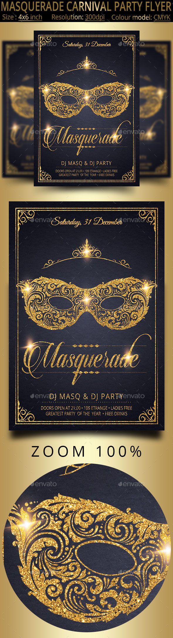 GraphicRiver Masquerade Carnival Party Flyer 21145665