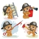 Set of Teddy Bears Firefighters Cartoon Characters