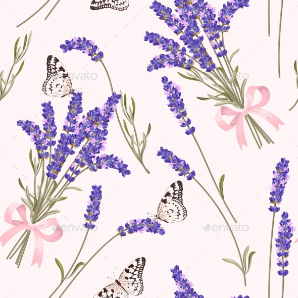 GraphicRiver Lavender Flowers Seamless Pattern 21145724