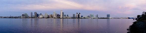 San Diego Wide Panoramic View Coronado Island Pacific Ocean bay - Stock Photo - Images