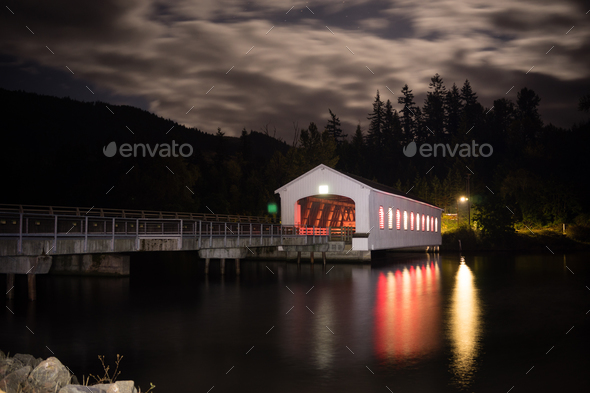 Lowell Covered Bridge Oregon Dexter Reservoir - Stock Photo - Images