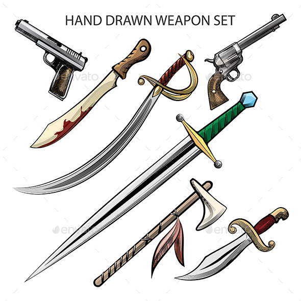 GraphicRiver Hand Drawn Weapon Set 21145818