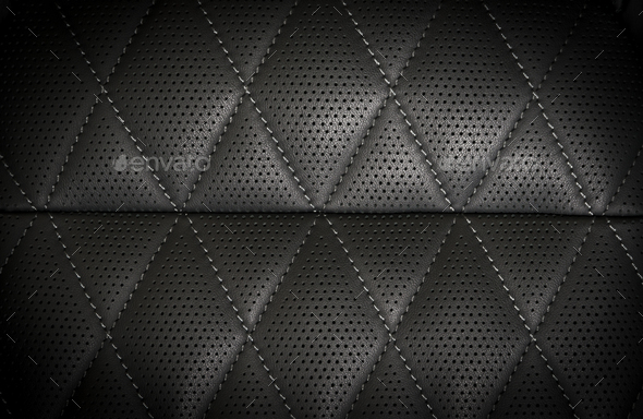 part of black perforated stitched leather details - Stock Photo - Images