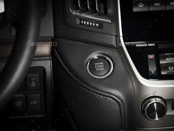 start stop engine button in the car interior - Stock Photo - Images