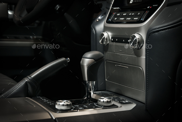 Automatic transmission gear stick in modern car interior - Stock Photo - Images