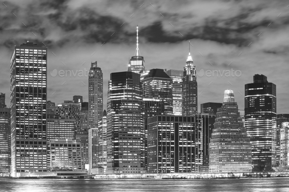 New York City skyscrapers at night. - Stock Photo - Images