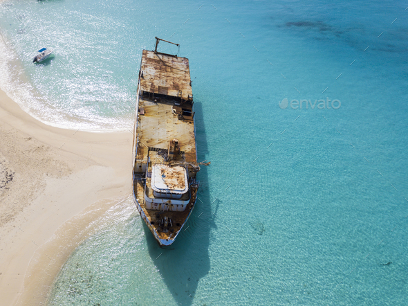 Aerial view of shipwreck in Grand Turk island. - Stock Photo - Images