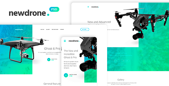 Newdrone - Sale Page or Landing Page Concepts PSD Templates - Technology PSD Templates