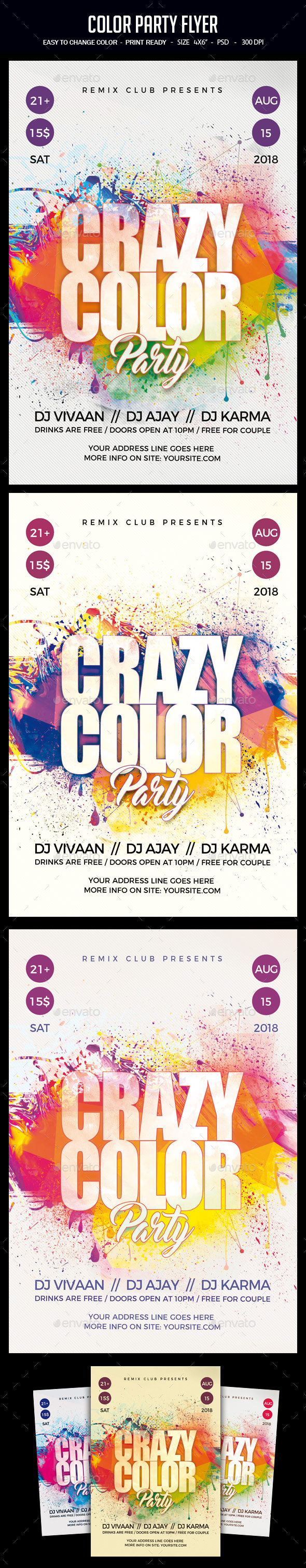 GraphicRiver Color Party Flyer 21146332
