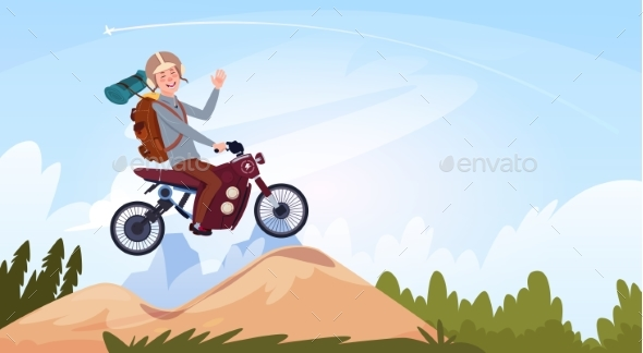 GraphicRiver Man Riding Off Road Bike In Mountain Wear 21146358