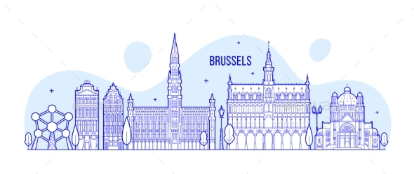 Brussels Skyline Belgium Vector City Buildings - Buildings Objects