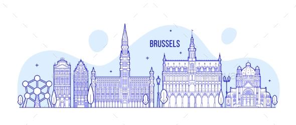 Brussels Skyline Belgium Vector City Buildings - Buildings Objects