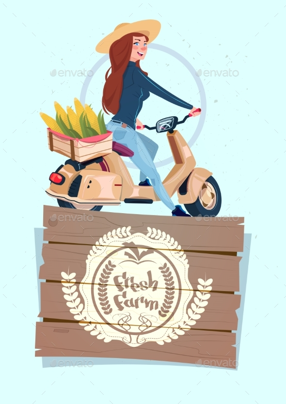 GraphicRiver Fresh Farm Logo Banner With Female Farmer 21146392
