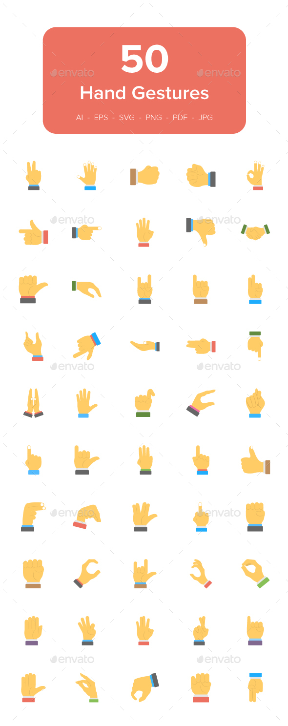 GraphicRiver 50 Hand Gesture Flat Icons Set 21146653