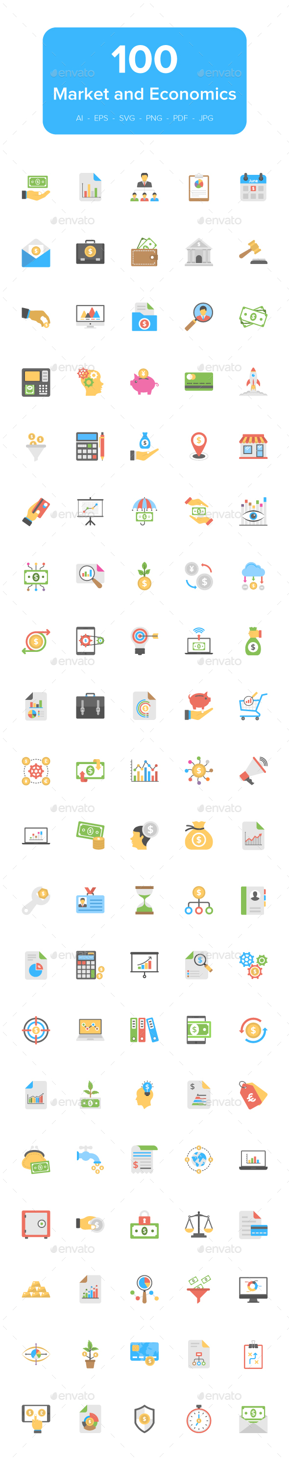 GraphicRiver 100 Flat Market and Economics Icons 21146661