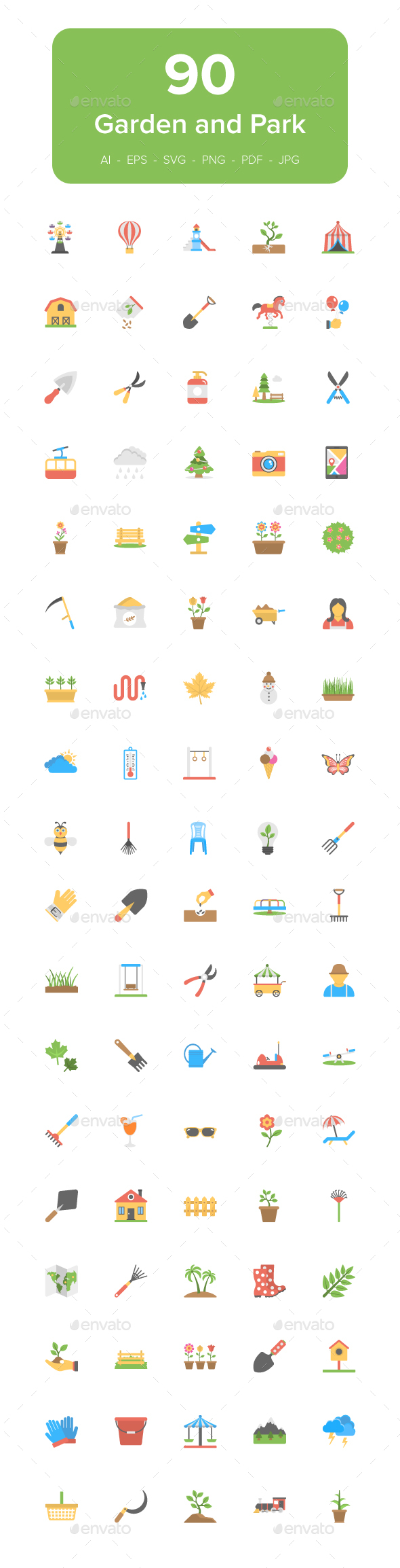 GraphicRiver 90 Garden and Park Flat Icon Set 21146695