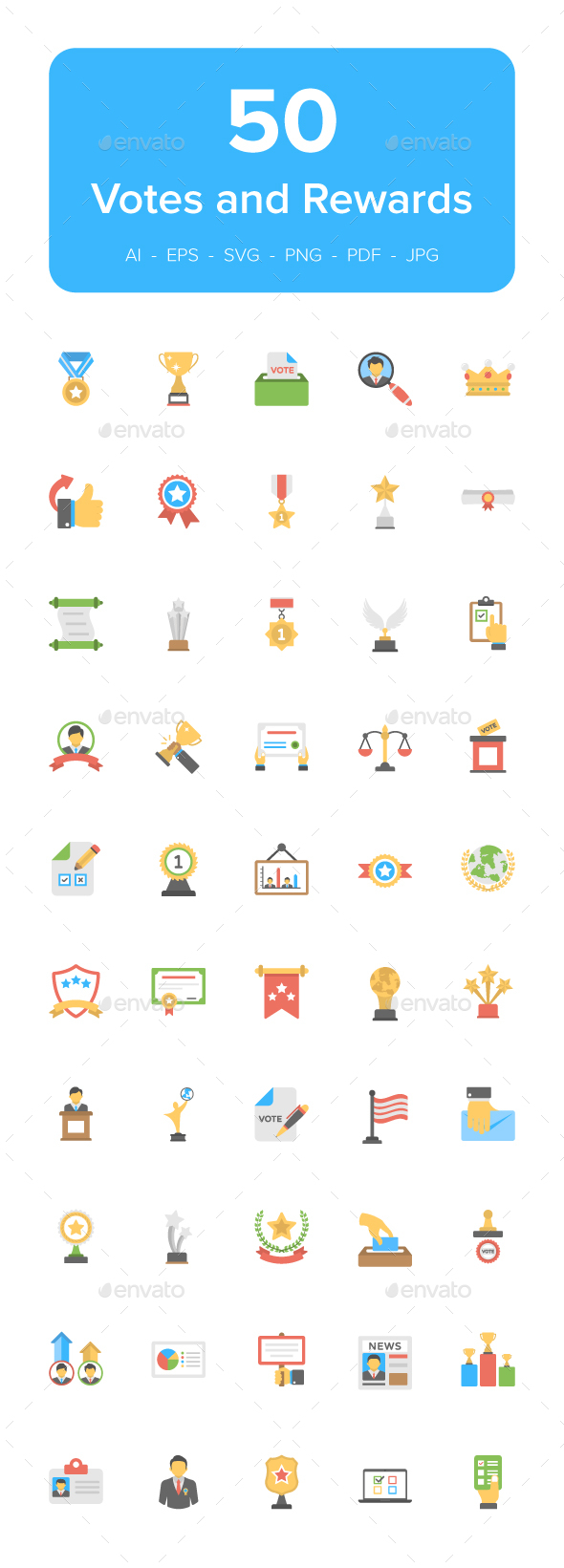 GraphicRiver 50 Vote and Rewards Flat Icons 21146752