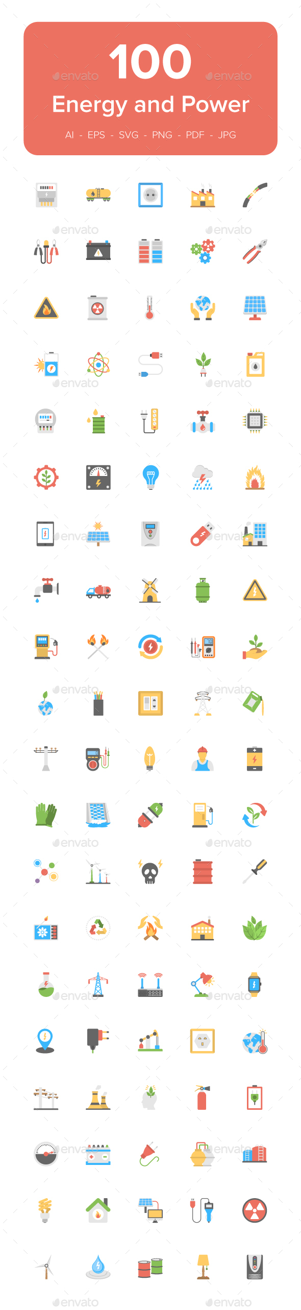 100 Energy and Power Flat Icons - Icons