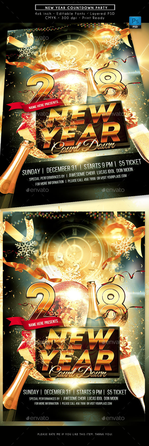 New Year Countdown Party Flyer - Holidays Events