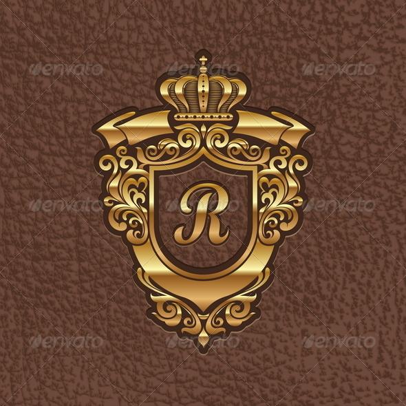 Golden Royal Coat of Arms - Decorative Symbols Decorative