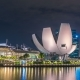 Helix Bridge and Marina Bay Sands at Night in Singapore. August 2017 - VideoHive Item for Sale