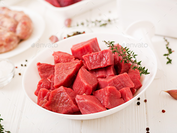 Chopped raw meat. - Stock Photo - Images
