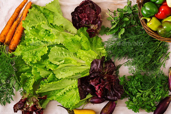 Assortment of vegetables and green herbs. Market. Flat lay. Top view - Stock Photo - Images