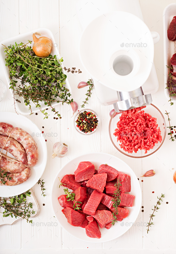 Chopped raw meat - Stock Photo - Images
