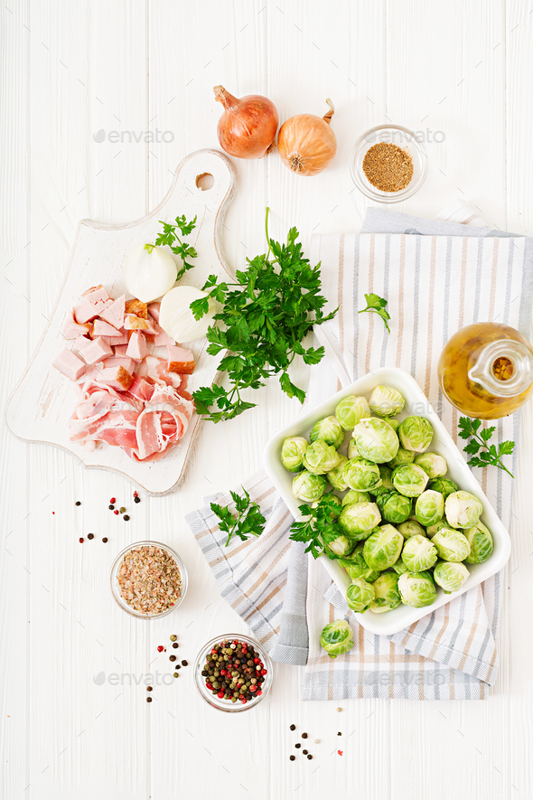 Brussels sprouts. Preparation for roasting Brussels sprouts with bacon. Flat lay. Top view - Stock Photo - Images