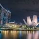 Helix Bridge and Marina Bay Sands Hotel at Night in Singapore. August 2017 - VideoHive Item for Sale