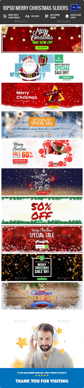 GraphicRiver Merry Christmas Sliders 10PSD 21147356