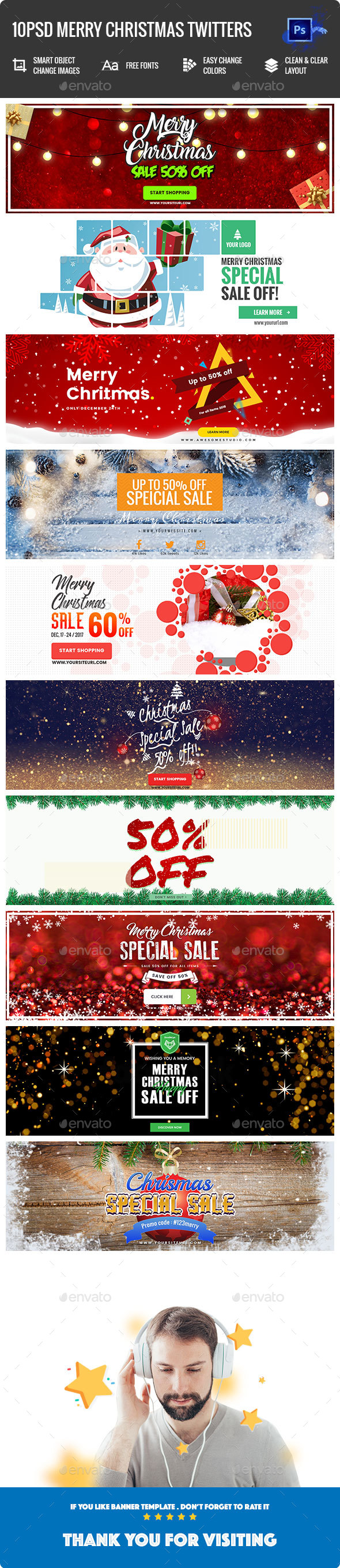 GraphicRiver Merry Christmas Twitter Headers 10PSD 21147381