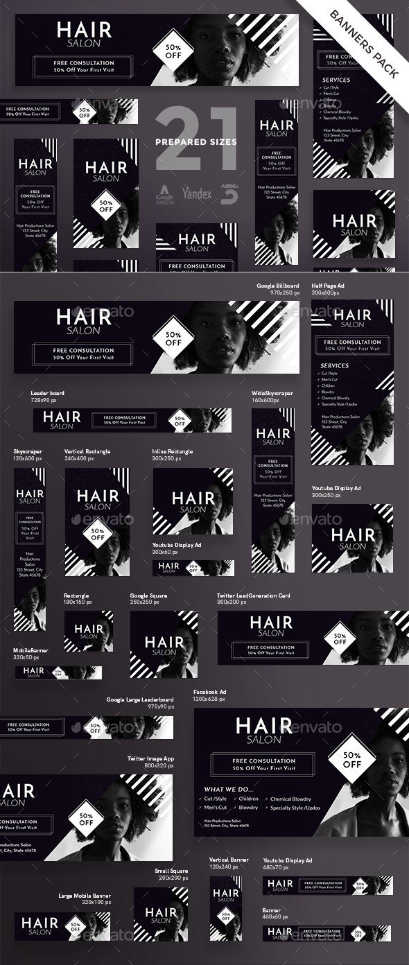 GraphicRiver Hair Salon Banner Pack 21147546